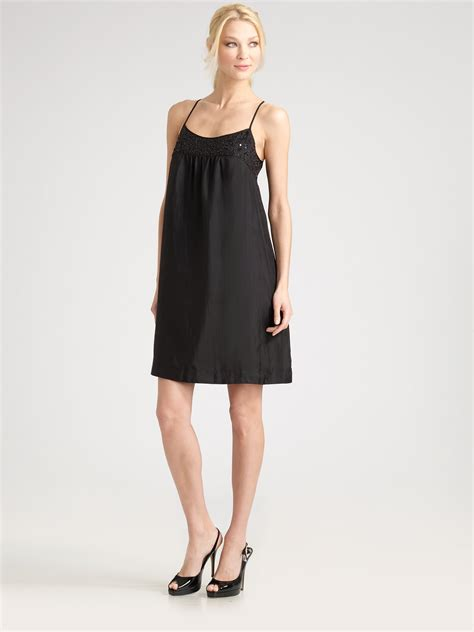 Dress Of The Day Silk Cami Dress by Lyst Eileen Fisher Sequined Silk Cami Dress In Black