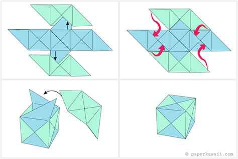 Make Paper Box Origami - free coloring pages how to make a modular origami cube