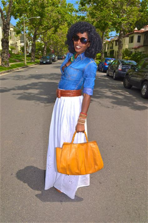 white maxi eyelet skirts blue denim paul joe shirts