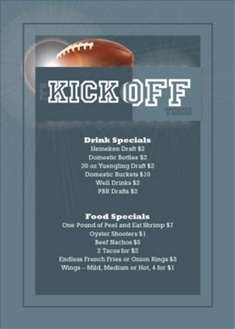 football menu templates football table tent sports bar menus