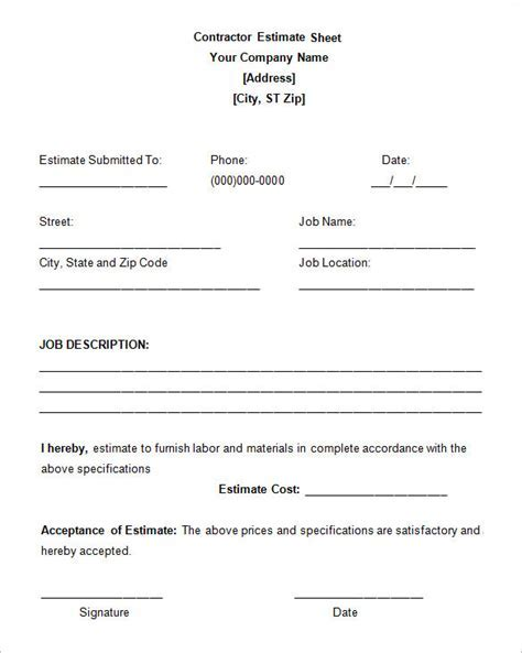 6  Work Estimate Templates ? Free Word & Excel Formats