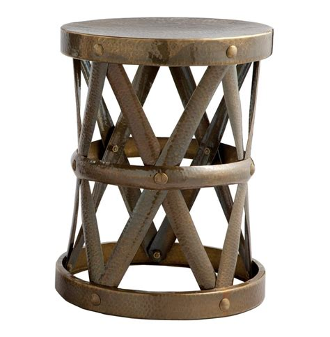 Small Metal Accent Table Costello Antique Brass Hammered Metal Open Accent Table Small Kathy Kuo Home