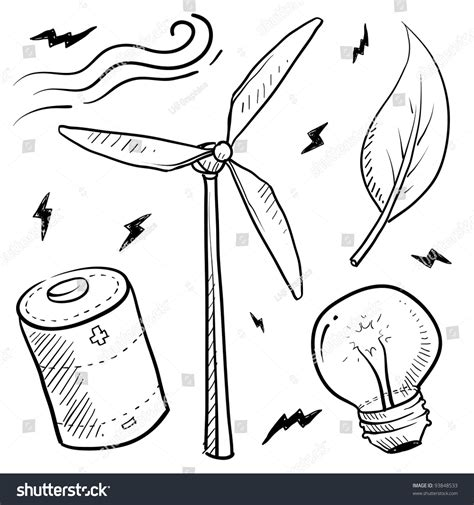 doodle electricity doodle style renewable wind energy sketch in vector format