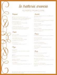 italian dinner menu template italian restaurant menu exles gallery