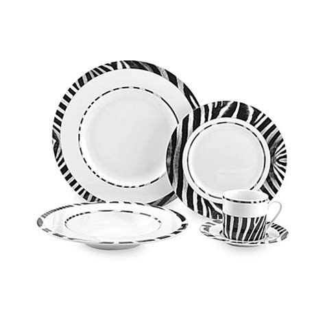 zebra pattern dinnerware mikasa 174 wild zebra dinnerware bed bath beyond