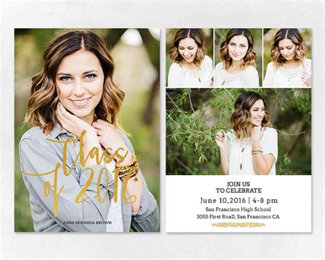 graduation announcements templates for photographers senior graduation announcement template for by salsaldesign