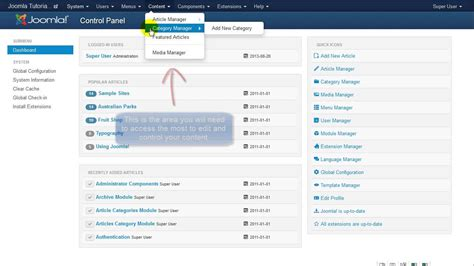joomla tutorial on youtube joomla tutorial control panel dashboard youtube