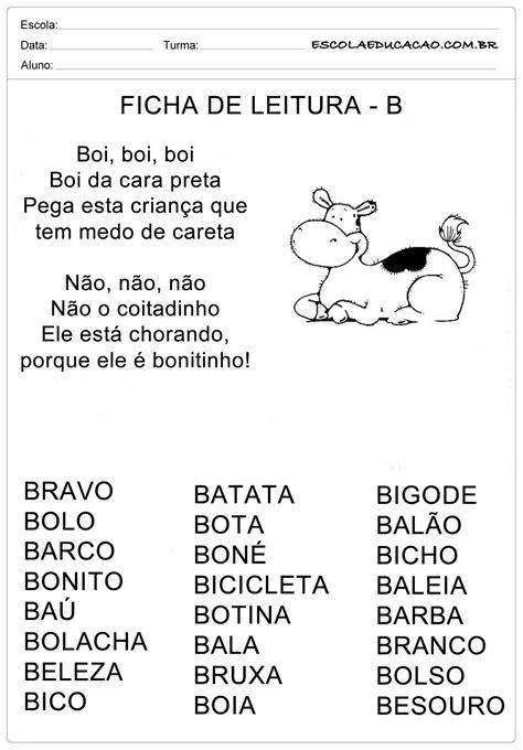 Ficha de Leitura Letra B - Boi - Escola Educação