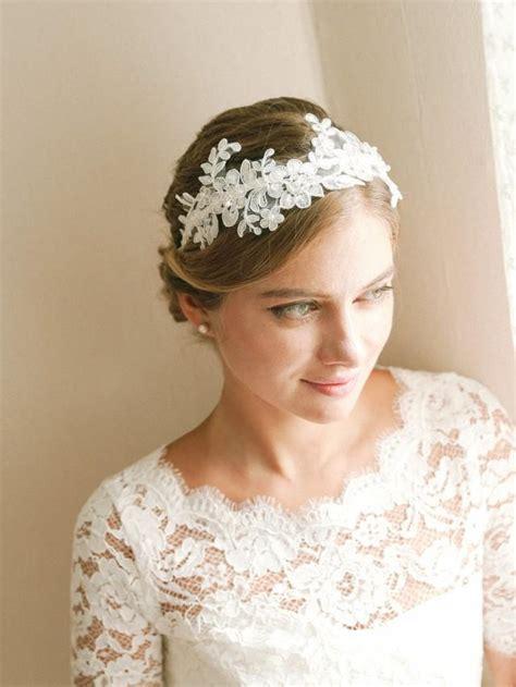 wedding hair with headband lace wedding headband bridal headband flower headband
