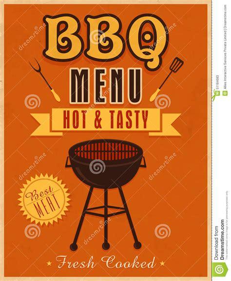bbq template card vintage menu card design for bbq stock illustration