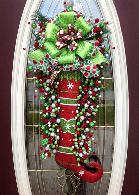 christmas wreath door wreath teardrop vertical swag decor