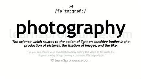 photography pronunciation  definition youtube