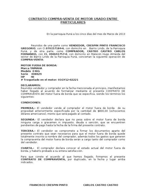 modelo privado contrato compraventa coches motos contrato compra ii