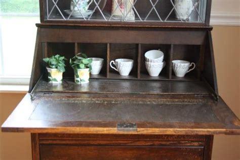 antique drop front desk with hutch antique deco drop front desk leaded glass cabinet hutch jacobean ebay
