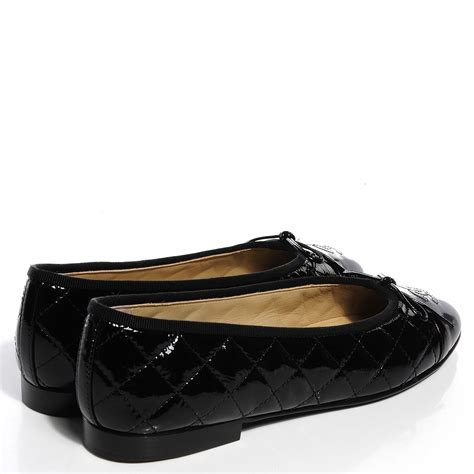 Chanel Quilted Ballet Flats by Chanel Patent Quilted Cap Toe Ballerina Flats 39 Black 97982