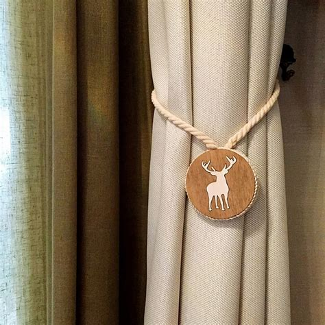 Magnetic Tie Backs For Curtains Pair Deer Wood Cotton Magnetic Curtain Decoration Clip Holder Tie Backs Ui Ebay