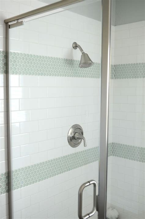 shower accent tile white subway tile in shower with turquoise tile accents