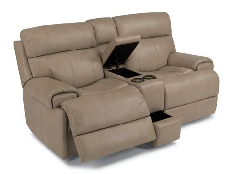 reclining loveseat console flexsteel 1441 604p leather power reclining loveseat with