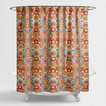 coral floral curtains aqua and coral windward tile shower curtain world market