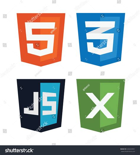 html5 pattern js vector illustration web shields illustrating html5 stock