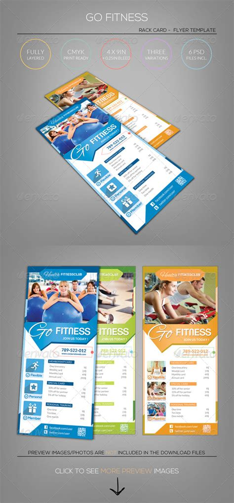 free rack card template schedule fitness go rack card flyer template by
