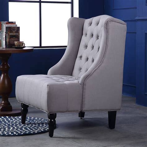 Chairs For The Living Room Wingback Accent Chair High Back Living Room Tufted Nailhead Gray Beige Ebay