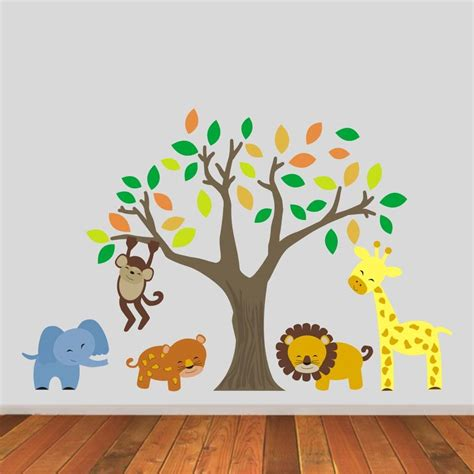 large jungle wall stickers jungle animals and tree wall stickers by mirrorin notonthehighstreet