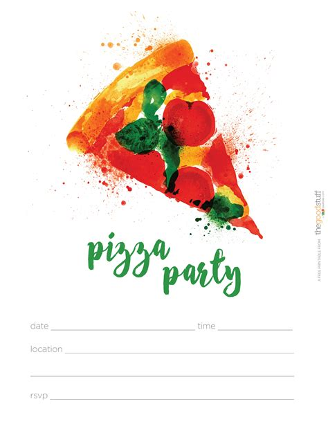 Hostess Helpers Free Pizza Party Printables Thegoodstuff Pizza Invitation Template