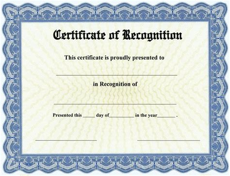 20 certificate of recognition template word excel pdf