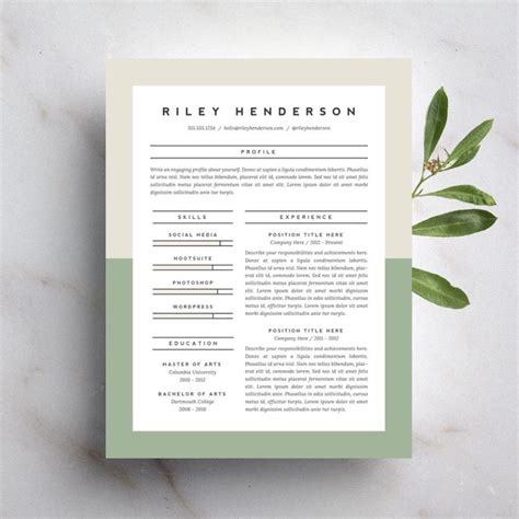 Beautiful Resume Templates by 15 Beautiful Resumes You Can Buy On Etsy Williford