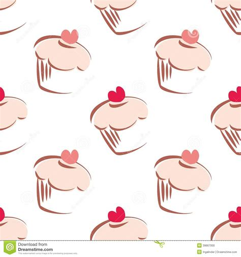 cake background pattern vector pink cupcake tile vector background stock vector
