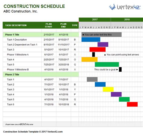 project management calendar template excel construction schedule template