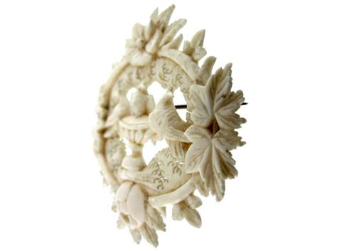 carved ivory doves of pliny brooch the antique jewellery