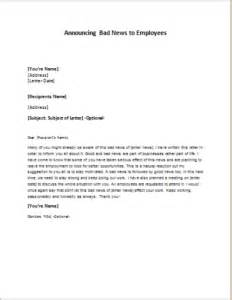 Writing A Business Letter With Bad News Letter Announcing Bad News To Employees Writeletter2 Com