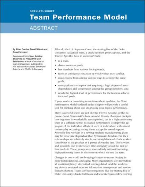 thesis abstract model team improvement grove tools inc