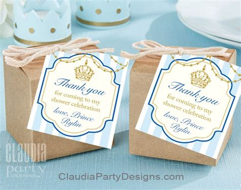 Thank You Tags For Baby Shower by Royal Prince Thank You Tags Gold And Blue Prince Favor