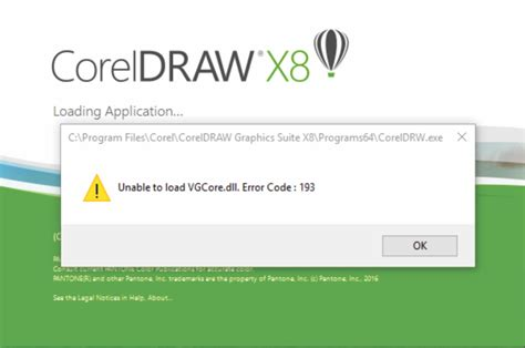corel draw x7 unable to load vgcore dll coreldraw x8 unable to load vgcore dll error code 193