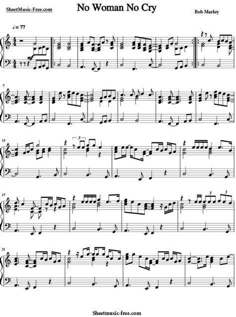 printable piano sheet music no download free no woman no cry sheet music bob marley sheet music free