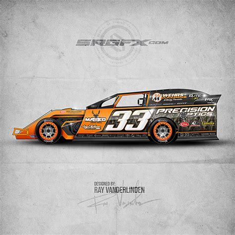 orange camo race cars precision optics dirt modified school of racing graphics