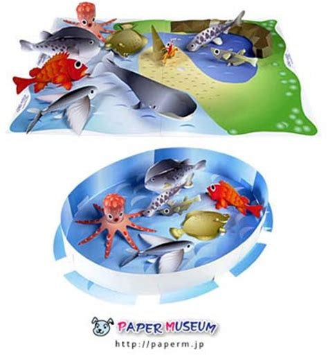 Fish Papercraft - aquatic animals papercraft set paperkraft net free