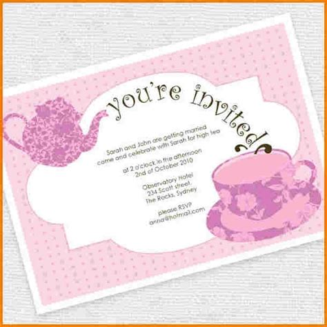 Tea Party Invitation Template Word Using Tea Party Tea Invitation Template Word