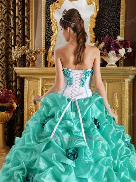 turquoise blue quinceanera dress with made flowers