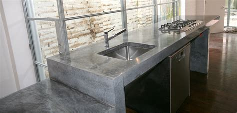 polished concrete bench industrial residential kitchen
