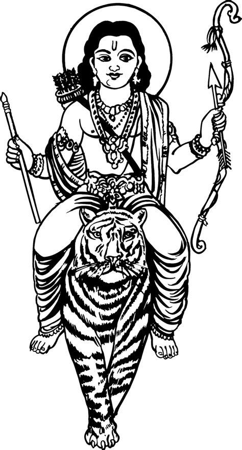 Tamil Cliparts: Shri Ayyappa Line drawing