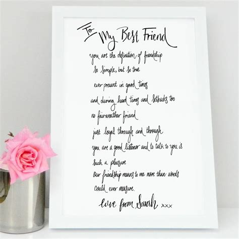 Wedding Song For Best Friends by Best Friend Poem Gift By De Fraine Design
