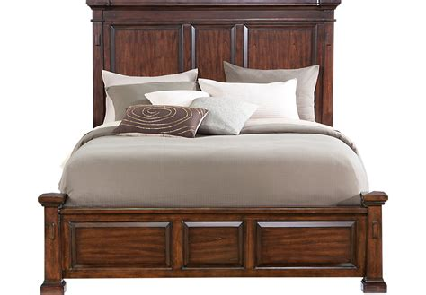 rooms to go headboards clairfield tobacco 3 pc queen panel bed beds dark wood