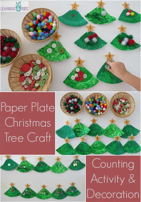 paper plate christmas tree counting decoration learning