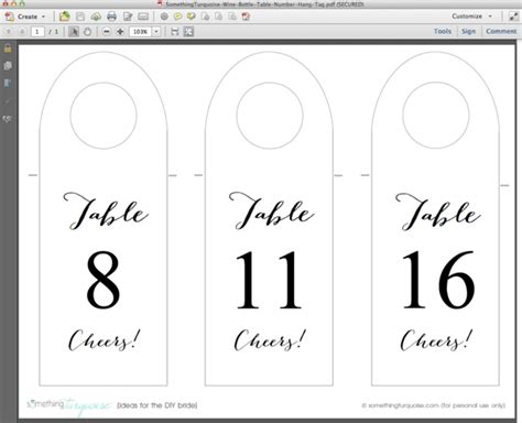 How To Make Free Wine Bottle Table Number Hang Tags Wine Bottle Tag Template
