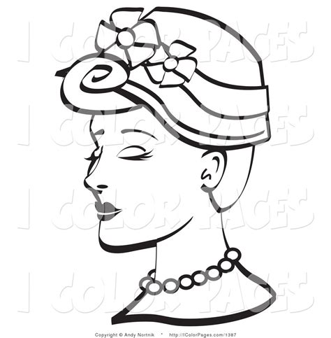 coloring pages of women s hats vector coloring page of a vintage woman in a floral hat by