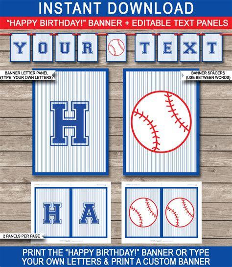 Baseball Party Banner Template Birthday Banner Editable Bunting Baseball Banner Templates